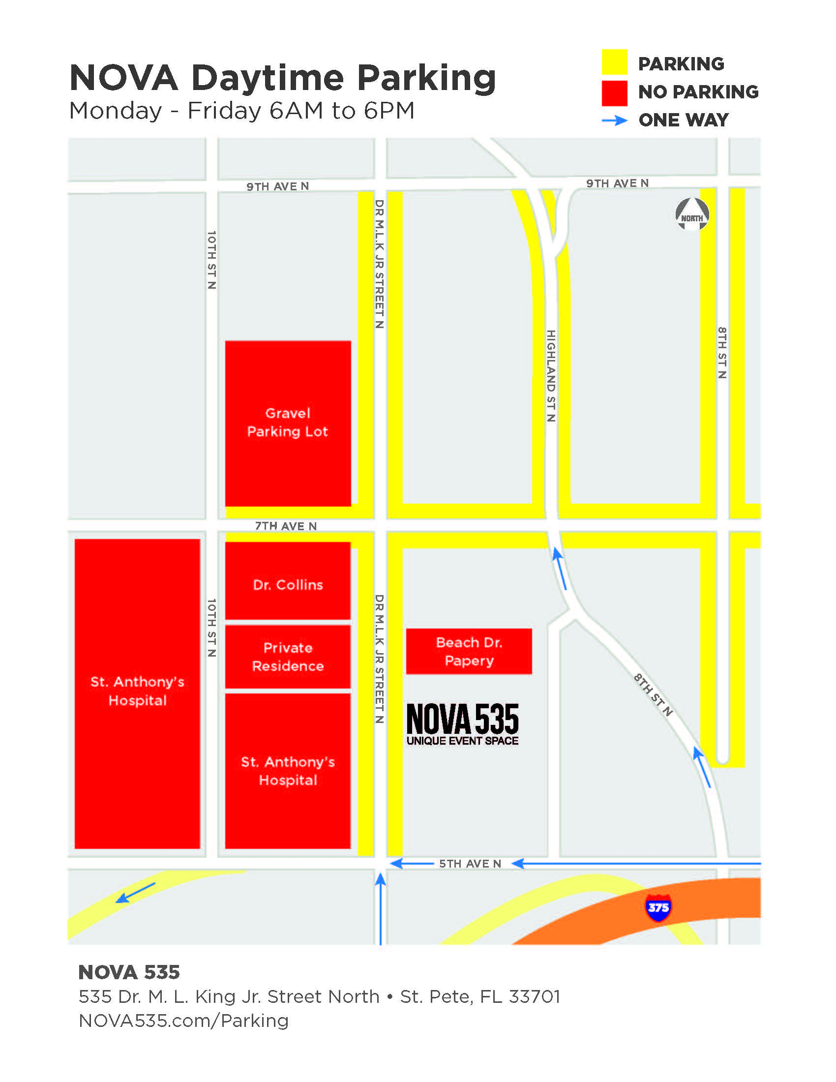 2020 NOVA 535 Parking Map for Daytime Weekdays