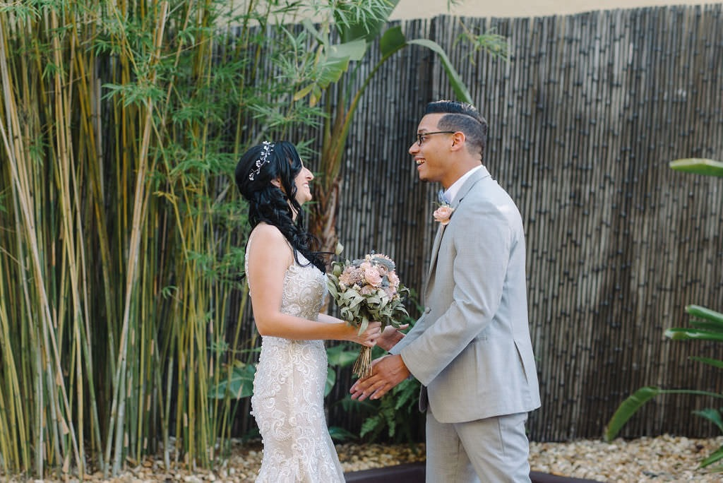 Bride and groom first look at NOVA 535 in St. Pete