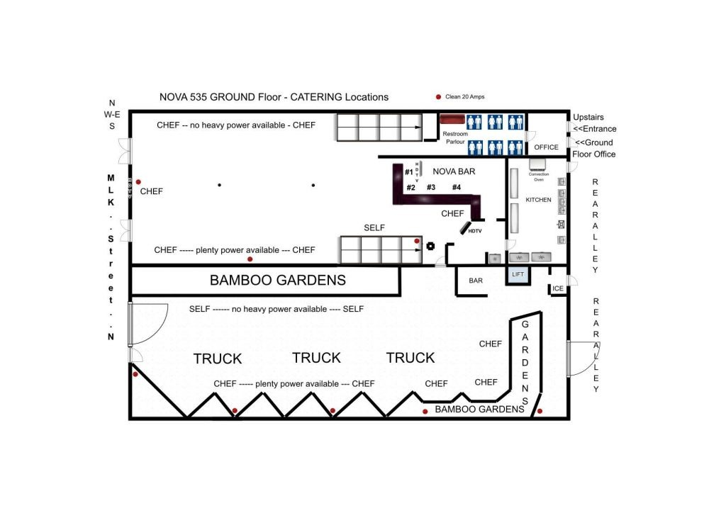 approved Catering Locations GROUND Floorplan at historic downtown St. Pete venue NOVA 535