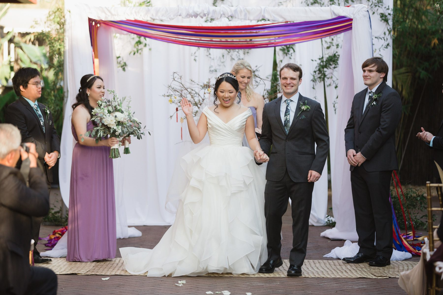 Bamboo garden wedding ceremony with draped arbor at NOVA 535 | Multi-Cultural St Pete Wedding