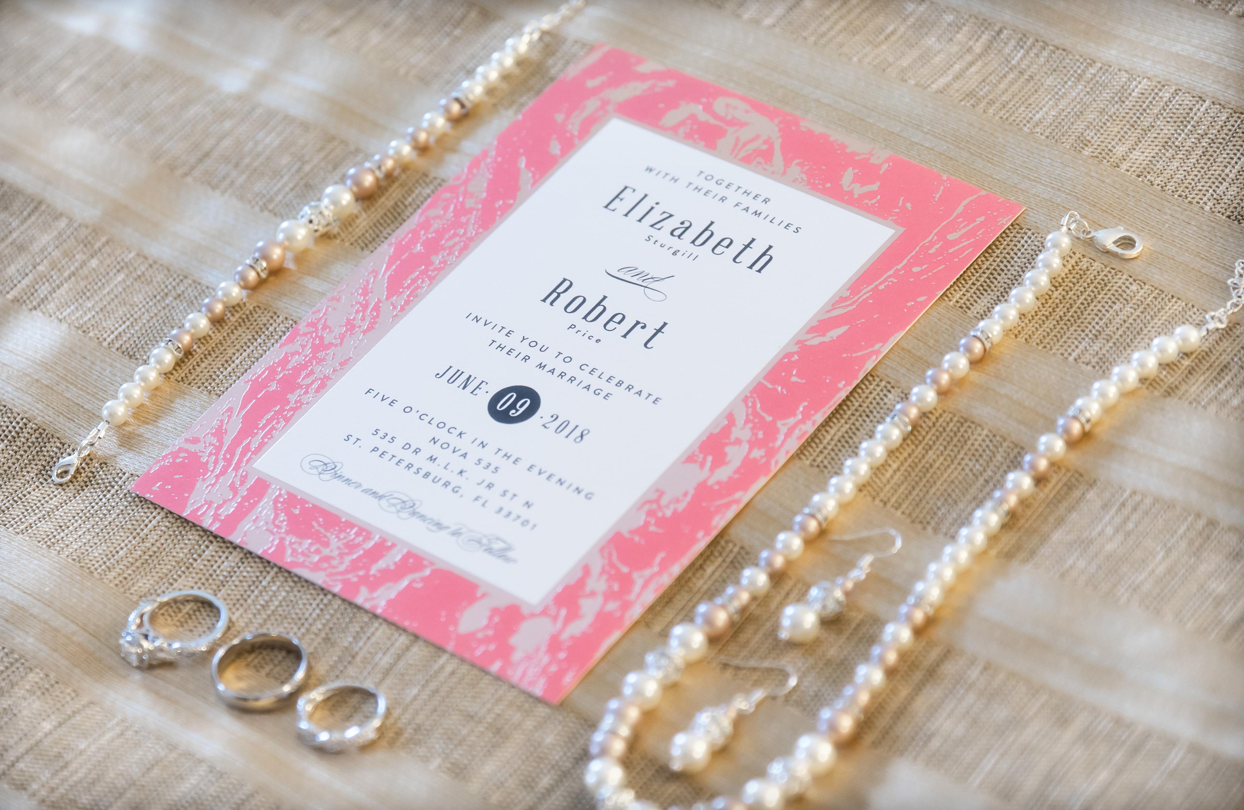 Pink printed wedding invitation for Vintage St Petersburg Wedding   Downtown St. Pete Venue NOVA 535