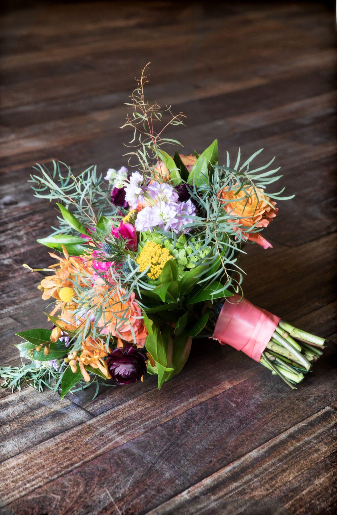 Colorful Textured Bridal Bouquet for Vintage St Petersburg Wedding   Downtown St. Pete Venue NOVA 535