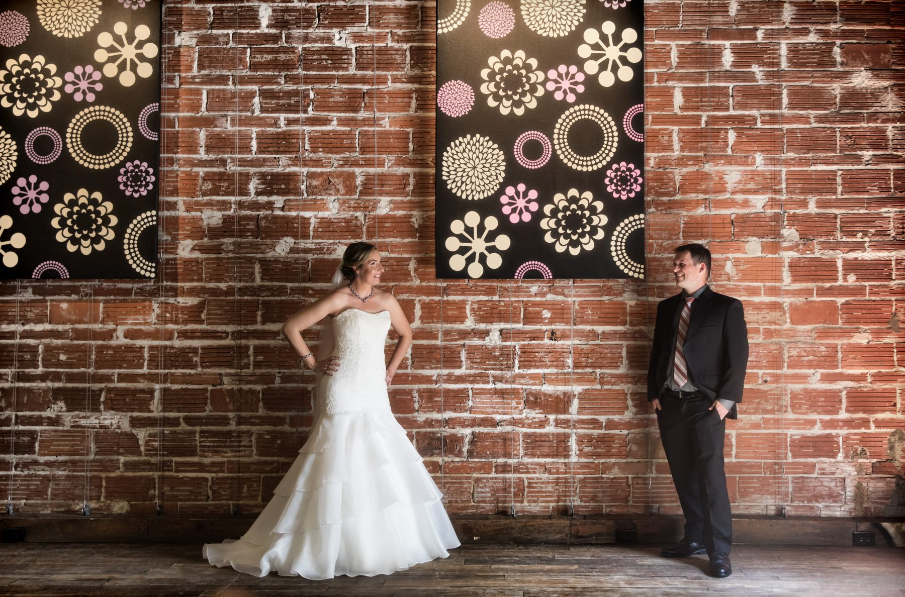 Vintage Inspired Florida Bride and Groom against Exposed Red Brick Wall | Downtown St. Pete Unique Wedding Venue NOVA 535