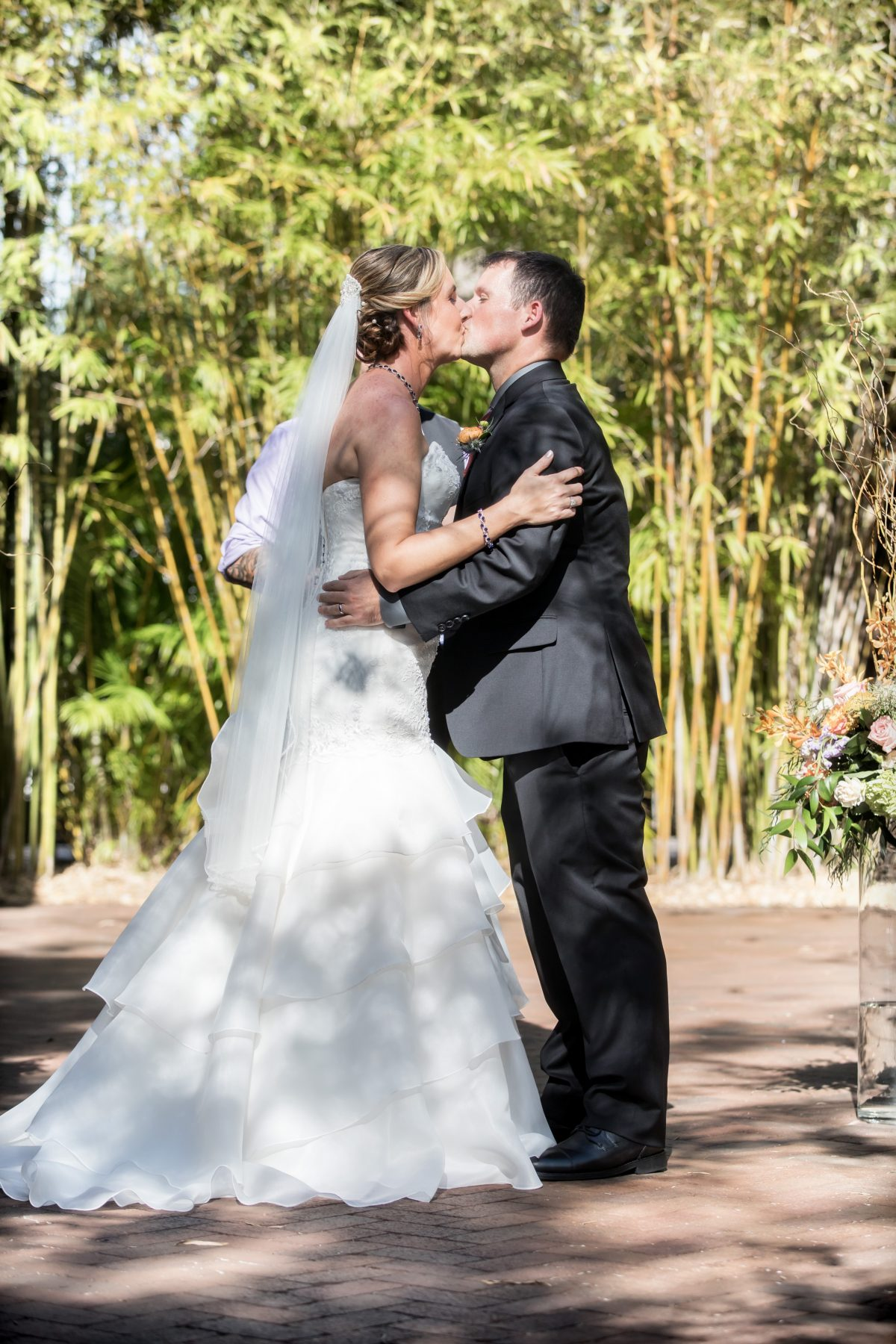 Wedding ceremony in bamboo garden in downtown St. Pete at Historic Wedding Venue NOVA 535 in St. Pete