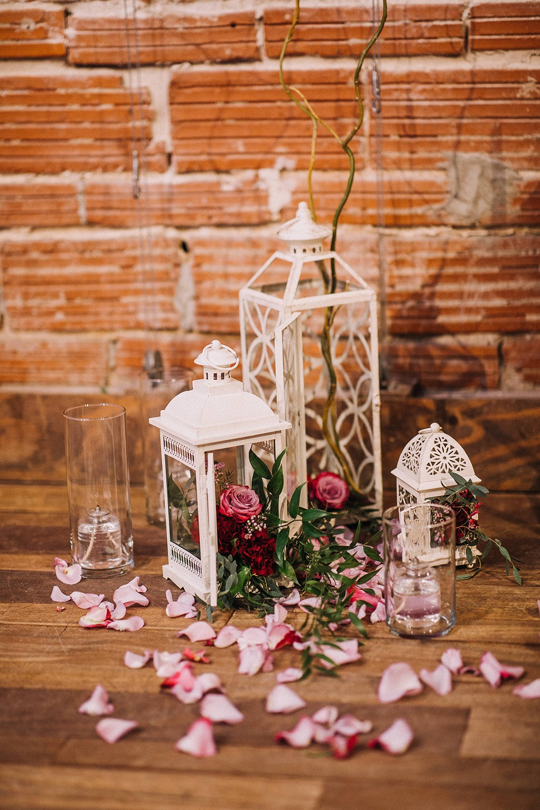Vintage Wedding Decor against Industrial Exposed Red Brick Wall at Historic Downtown St. Pete Wedding Venue NOVA 535