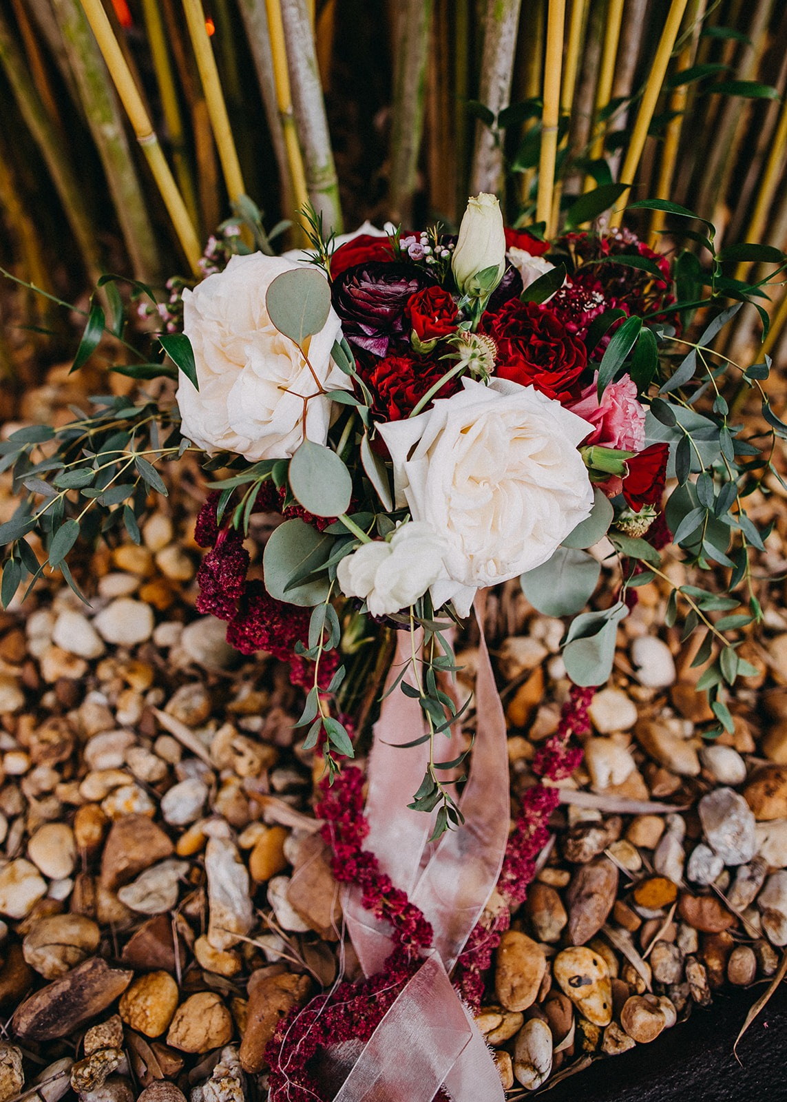 Elegant Pink, White, Red, Purple Floral Bouquet in Tampa Bay Bamboo Courtyard | St. Pete Historic Wedding Venue NOVA 535