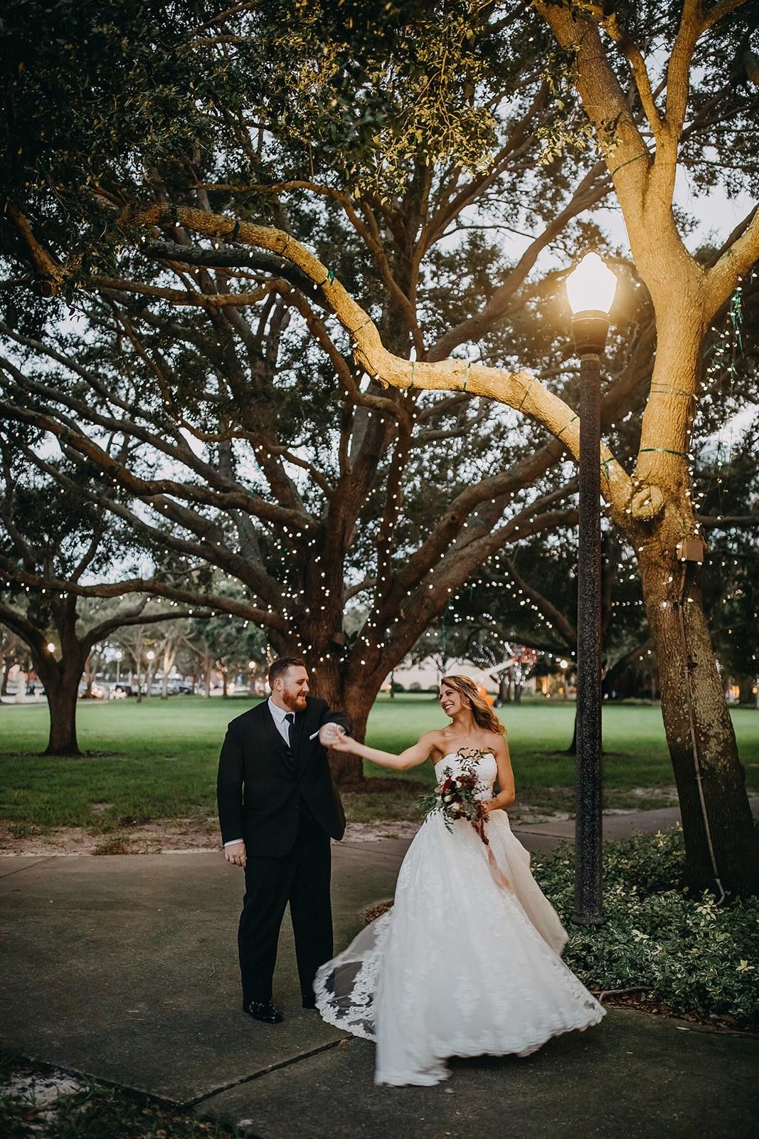 Romantic Downtown St. Pete Bride and Groom Wedding Portrait at Straub Park | Downtown St. Pete Historic Wedding Venue NOVA 535