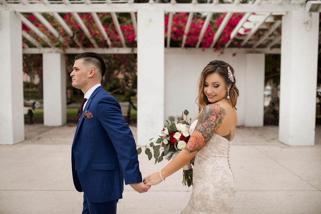 St. Pete bride and groom at first look for wedding at NOVA 535