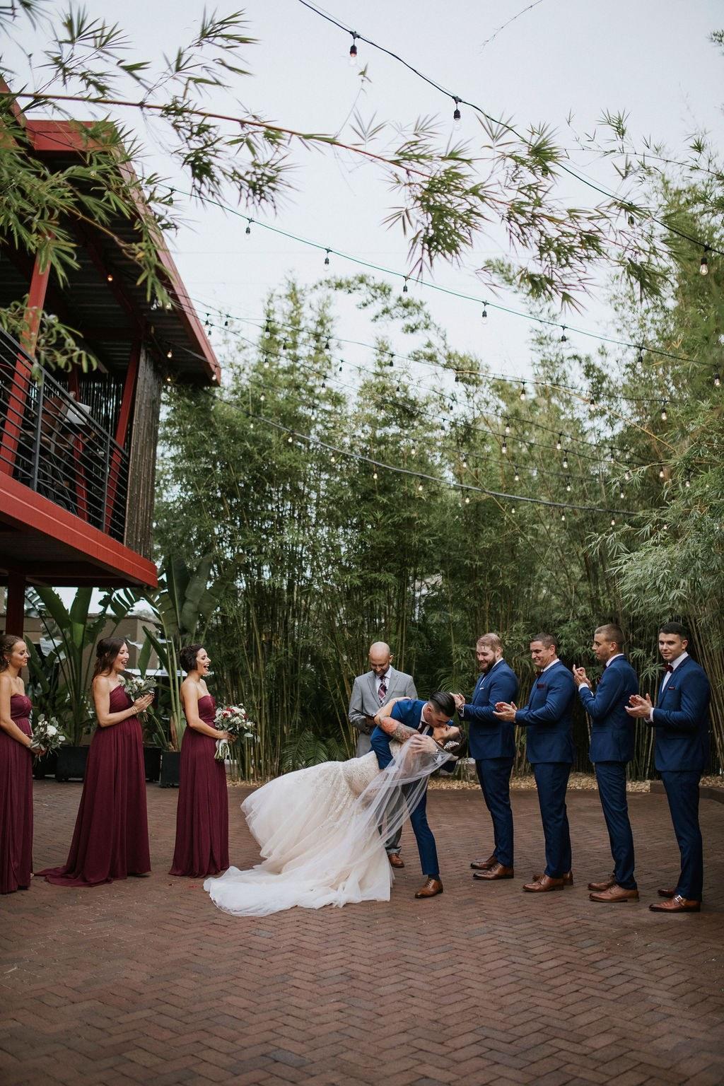 Wedding ceremony in bamboo gardens at NOVA 535 in St. Pete